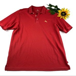 Tommy Bahama Red Yellow Logo Golf Polo Sshirt